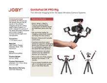 Joby GorillaPod 3K Pro Rig datasheet