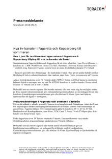 Nya tv-kanaler i Fagersta och Kopparberg till sommaren