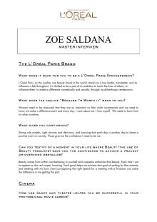 Zoe Saldana Master Interview