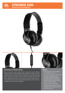Specification Sheet JBL Synchros S300