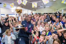 Super over star Jofra Archer kicks off nationwide Winners' World Cup Trophy Tour