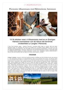 Program Piemonte med Björnstierne Antonson