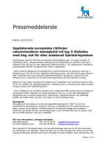 Uppdaterade europeiska riktlinjer rekommenderar semaglutid vid typ 2-diabetes med hög risk för eller etablerad hjärtkärlsjukdom