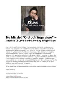 "Di Leva ""Ord och inga visor"" ny singel"