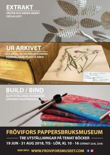 Tre utställningar om böcker på Frövifors Pappersbruksmuseum i sommar