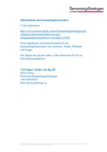 Informationsmaterial om bemanningsbranschen