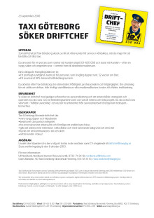 Taxi Göteborg söker driftchef
