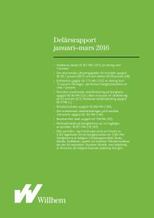 Willhems delårsrapport januari-mars 2016