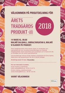Pressinbjudan:  Prisutdelning för Årets Trädgårdsprodukt 2018