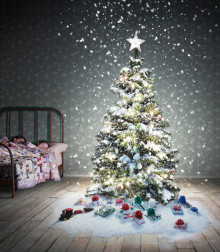 Steve Angello hjälper till att fylla en ensam julgran med julklappar