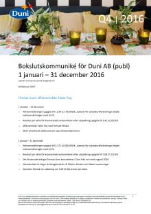 Bokslutskommuniké för Duni AB (publ) 1 januari – 31 december 2016
