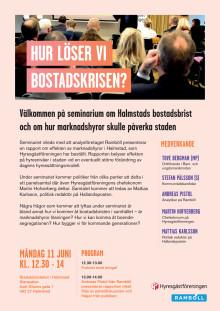 Seminarium om Halmstads bostadsbrist den 11 juni