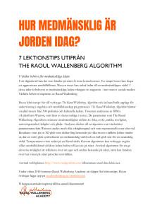 Lärarhandledning The Raoul Wallenberg Algorithm