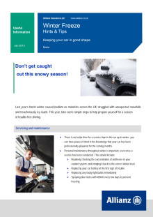 Allianz Winter Freeze Advice for Motorists