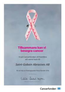 Saint-Gobain Abrasives stödjer Rosa Bandet