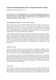 Faktablad, tekniska utvecklingsvägar för pappers- och massaindustrin