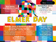 Elmer Day at Bury libraries - Saturday 27 May