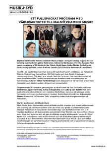 Ett fullspäckat program med världsartister till Malmö Chamber Music