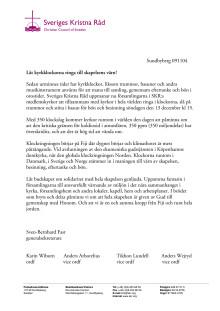 Sveriges Kristna Råd uppmanar till klockringning i samband med klimattoppmötet i Köpenhamn