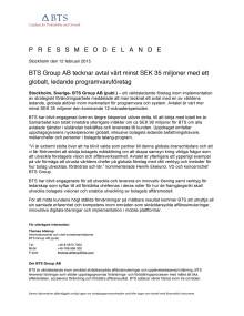 BTS Group AB tecknar avtal värt minst SEK 35 miljoner med ett globalt, ledande programvaruföretag