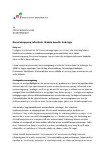 Remissvar Barnomsorgspeng och allmän förskola även för treåringar (Ds 2008:56)