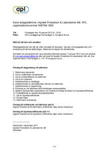 Dagordning extra bolagsstämma APL 18 januari 2012