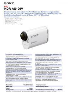 Datenblatt HDR-AS100V von Sony