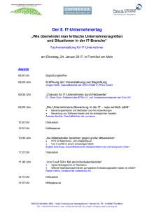 Agenda und Anmeldung zum 8. IT-Unternehmertag am 24.1.2017