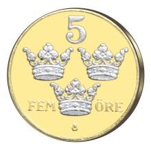Ett av Sveriges vackraste öresmynt belagt med guld och platina