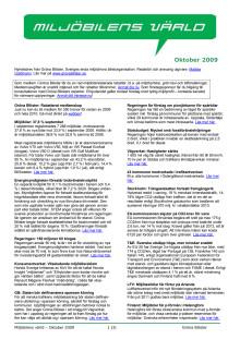 Gröna Bilisters nyhetsbrev för oktober 2009