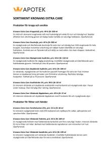 KRONANS EMV-SORTIMENT - PRODUKTER & PRISER