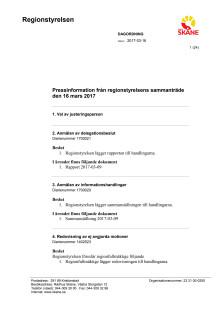 Pressinformation från regionstyrelsen 16 mars 2017