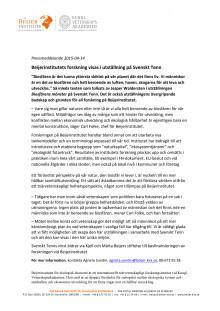 Pressmeddelande från Beijerinstitutet