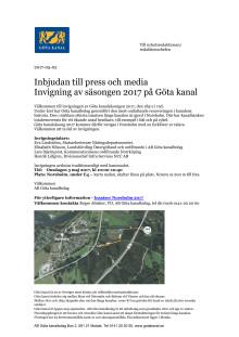 Pressinbjudan Öppning Göta kanalsäsong 2017