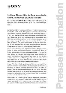 Communication de presse_BRAVIA S90_F-CH_140807