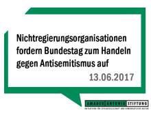 Nichtregierungsorganisationen fordern Bundestag zum Handeln gegen Antisemitismus auf