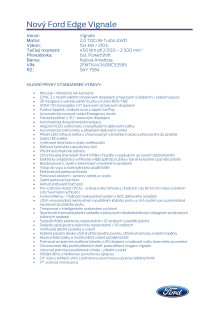 Specifikace Fordu Edge Vignale