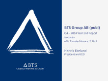BTS Group AB (publ) Q4 – 2014 Year End Report