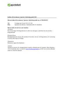Kallelse till Apotekets årsstämma 2012