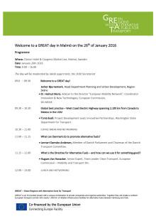 Program för A GREAT day, den 26 januari 2016 (uppdaterad)