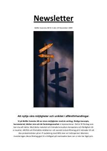 Newsletter november 2009 från BelBin Svenska AB