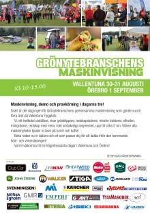 Inbjudan - Grönytebranschensmaskinvisning Vallenturna och Örebro 2016.