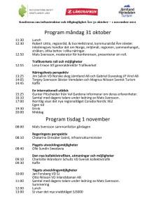 Program för konferens om infrastruktur och tillgänglighet