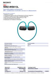Datenblatt WALKMAN NWZ-WS613L von Sony