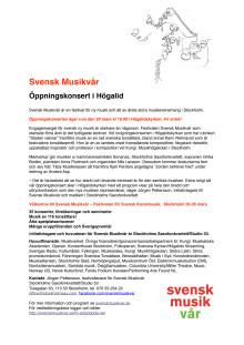 Svensk Musikvår – Öppningskonsert i Högalid