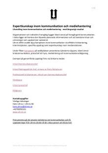 Expertkunskap inom kommunikation och mediehantering