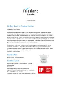 """Presseinformation: Die Serie """"Ecco"""" von Friesland Porzellan - Sympathisch, praktisch, ausgezeichnet"""