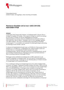 """Remissvar """"Bostäder att bo kvar i (SOU 2015:85)"""""""