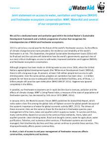 Gemensamt uttalande WaterAid, WWF, företagspartners (eng)