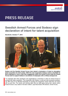 Swedish Armed Forces and Sodexo sign declaration of intent for talent acquisition